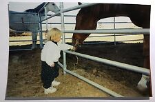 Vintage PHOTO Of A Little Girl With Bowl Hair Cut Feeding Hay Straw To Horse