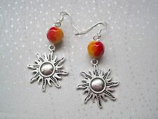 *HOT SUNBURST SUN RED YELLOW OMBRE BEAD* SP Drop Earrings CELESTIAL Gift Bag