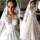 Neu Weiß Elfenbein Spitze Langarm Applikation Hochzeitskleid Brautkleider custom