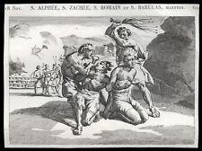 santino incisione 1800* SS.ALFEO ZACCHEO ROMANO E BARULA MM. AD ANTIOCHIA