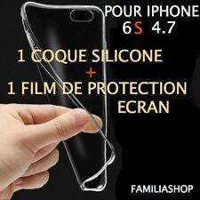 Housse étui pochette coque transparent souple gel silicone iphone 6S 4.7 + film