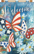 Jeweled Banner Kit Design Works Patriotic Welcome Butterflies & Flowers #DW4232