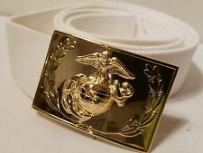 USMC Marines OFFICERS uniform buckle anodized Emblem & Wreath White Belt 44""
