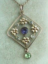 Suffragette 9ct Gold  Amethyst Peridot & Seed Pearl Set Pendant & 15ct Chain