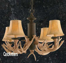 CAST RUSTIC CABIN DEER ANTLER CHANDELIER PENDANT 4 LIGHT