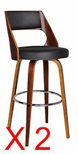Set of 2 Oslo Black Faux Leather and Timber Swivel Bar Stools  - BRAND NEW