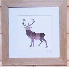 Scottsh Art Stag Deer Framed Picture with Lilac Tweed