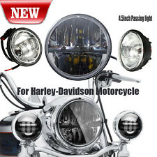 "36W 7"" LED daymaker Headlight & 4.5"" Silver Passing Lights For Harley Davidson"