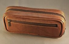 NEW! Premium CALF ANTIQUE BROWN leather pipe tobacco pouch / case