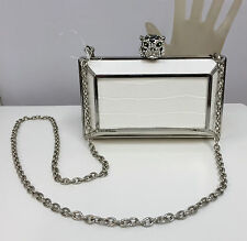 BCBG MAXAZRIA PURSE CLUTCH ROMI NWT $178 WHITE TIGER HEAD CLASP JEWELED ENAMEL