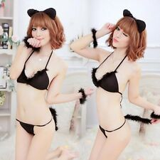 Woman Black Lace Sexy Cat Woman Costume Cosplay Sleepwear Lingerie+ Thong Set
