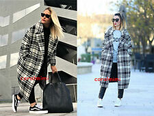 ZARA NEW WOOL BLEND DOUBLE BREASTED CHECK MAXI COAT SIZE M