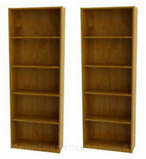Set of Two Oak Bookcases 5 Shelves Library Cabinet Bookshelf Book Case Study NEW