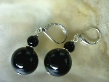 Onyx Ohrhänger Ohrringe Earrings 14 & 6 mm Onyx Kugel mit Brisuren rhodiniert