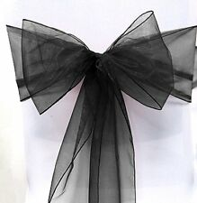 "(Set of 6) LARGER Shimmer Organza CHAIR BOW Sash 9"" x 115"" CHOOSE COLOR"