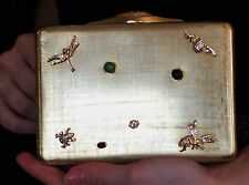 JUDITH LEIBER WINGED INSECTS DRAGONFLY SWAROVSKI CRYSTAL MINAUDIERE EVENING BAG
