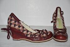 Leopoldo Giordano Red Leather & Multi-Colored Fabric Slip On Wedge Heels Sz 7.5