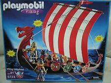 Playmobil 54mm approx medieval viking long ship plastic some assembly #5723 oop