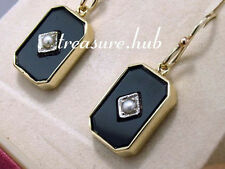 Genuine REAL 9ct SOLID Gold Natural ONYX & Pearl Mourning Earrings