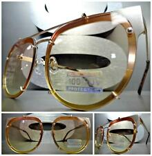 New CLASSIC VINTAGE RETRO Style SUN GLASSES Gold Frame Flat Orange & Yellow Lens