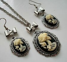 Sterling Silver Pltd DAY OF THE DEAD Skull Skeleton Cameo Necklace Earring Set