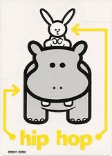 RARE Discontinued HIP HOP HIPPO & BUNNY DJ MUSIC VINYL STICKER/DECAL by ODM