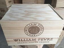 Wine Box Case Crate 6 Bottle French Chateau William Fevre Burgendy With Lid