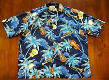 Pacific Legend blue Hawaiian Aloha shirt music instruments guitar sax 3XL