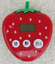 JAPANESE Kitchen Timer Magnetic Back 6.5cm Tall Strawberry Design English Info
