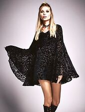 NEW Free People black Velvet Burnout Bell Sleeve Dress Cocktails Couture XS $300
