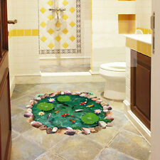Fish Pond 3D Lotus Floor Wall Sticker Removable Mural Decals Bathroom Art Decor