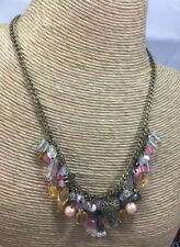 Vintage Style Necklace Glass & Plastic Pastel Fruit Salad Leaf Flower Brass