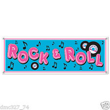 """1950s 50s Sock Hop Grease Party Decoration SIGN BANNER 60"""" x 21"""" ROCK & ROLL"""