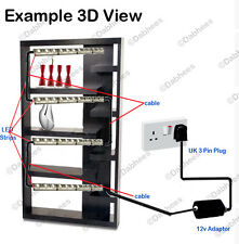 4 x 50cm WHITE LED STRIP LIGHTING GLASS CABINET SHELF DISPLAY LIGHT KIT