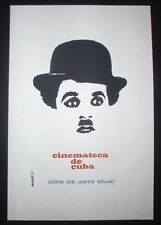 Iconic CUBA Silkscreen Poster Saluting Charlie Chaplin + Cuban Movies Archives