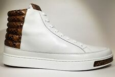 GUCCI Mens Sneaker High Top Lace Up White Brown Python Snake Exotic 375084 10 11