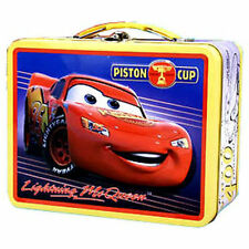 Tin Metal Lunch Snack Toy Box Embossed Pixar CARS McQueen Piston Cup NEW Ylw