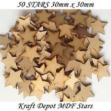 50x Madera Estrella formas Corte Láser MDF En blanco Adornos Arte Manualidades