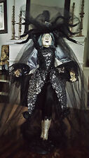 Halloween Witch Doll Rare Bella Lux Black & Silver Gown Decor NEW