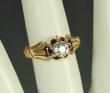 FAB 1800s 14K GOLD Old EURO CUT DIAMOND Ring +Appraisal~VICTORIAN HAND Theme~Sz5