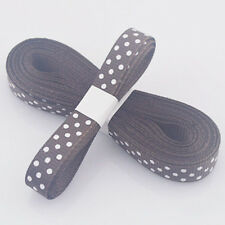 "5yds 3/8""(10 mm) Brown Christmas Ribbon Printed lovely dots Grosgrain Ribbon"