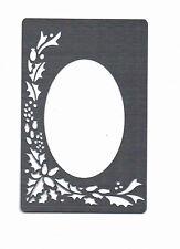 Plantilla/Metal/Acero Inoxidable// relieve/Navidad/Holly/Oval/marco/Oblongo/Nuevo