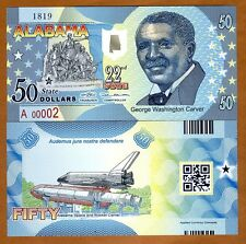 USA States,Alabama, $50, Polymer, ND (2016), UNC   George Carver, Space Shuttle
