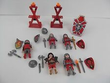 PLAYMOBIL Red Dragon Knight Figures weapon armor accessories play lot of 5 P09