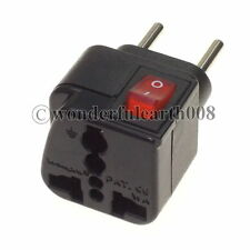 EU Europeplug Electrical Adapter Travel Plug w/ LED Main Switch Multi Outlet