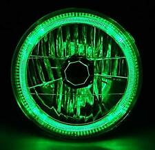 "7"" Halogen Crystal Clear Green LED Halo Ring H4 Light Bulb Motorcycle Headlight"