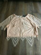 NWT Missguided Pink Nude Lace Crop Top US8 Medium UK12