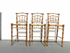 Three Modern Tiki Bamboo Style Carved SOLID WOOD BARSTOOLS Bar Stools