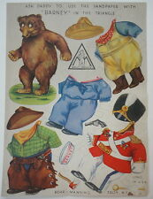 RARE Promotional Behr Manning Barney Teddy Bear Paper Doll c.1948 Uncut Sheet