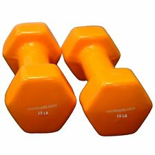 WORKOUTZ 15 LB (PAIR) ORANGE VINYL COATED DUMBBELLS HAND WEIGHT SET AEROBIC